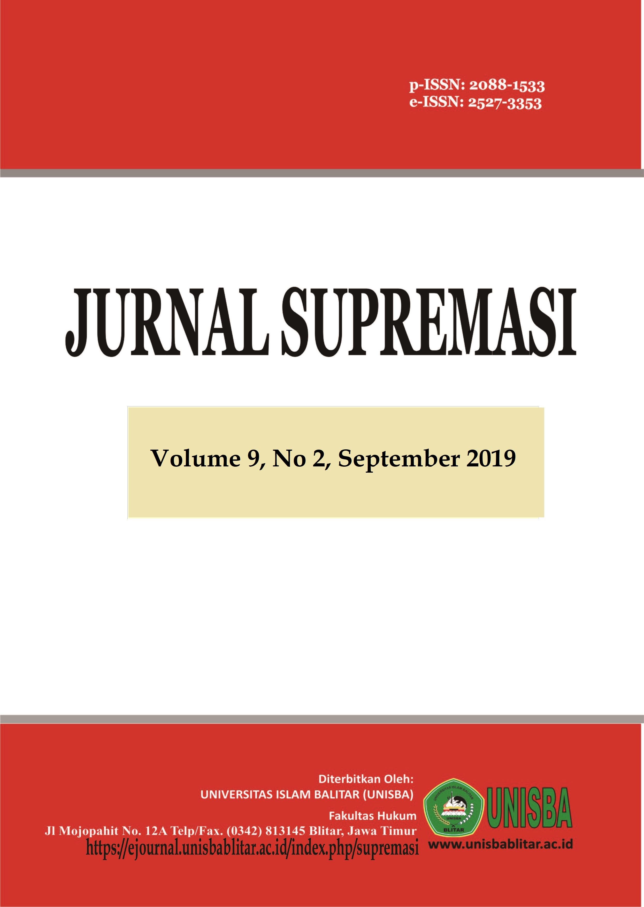 Jurnal Supremasi: Volume 9 Nomor 2 Tahun 2019