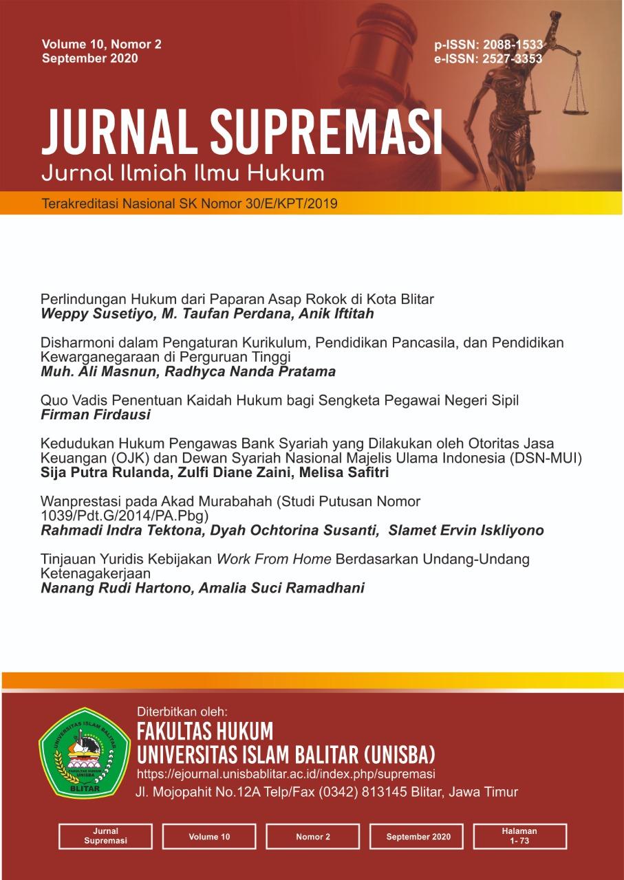 Jurnal Supremasi: Volume 10 Nomor 2 Tahun 2020