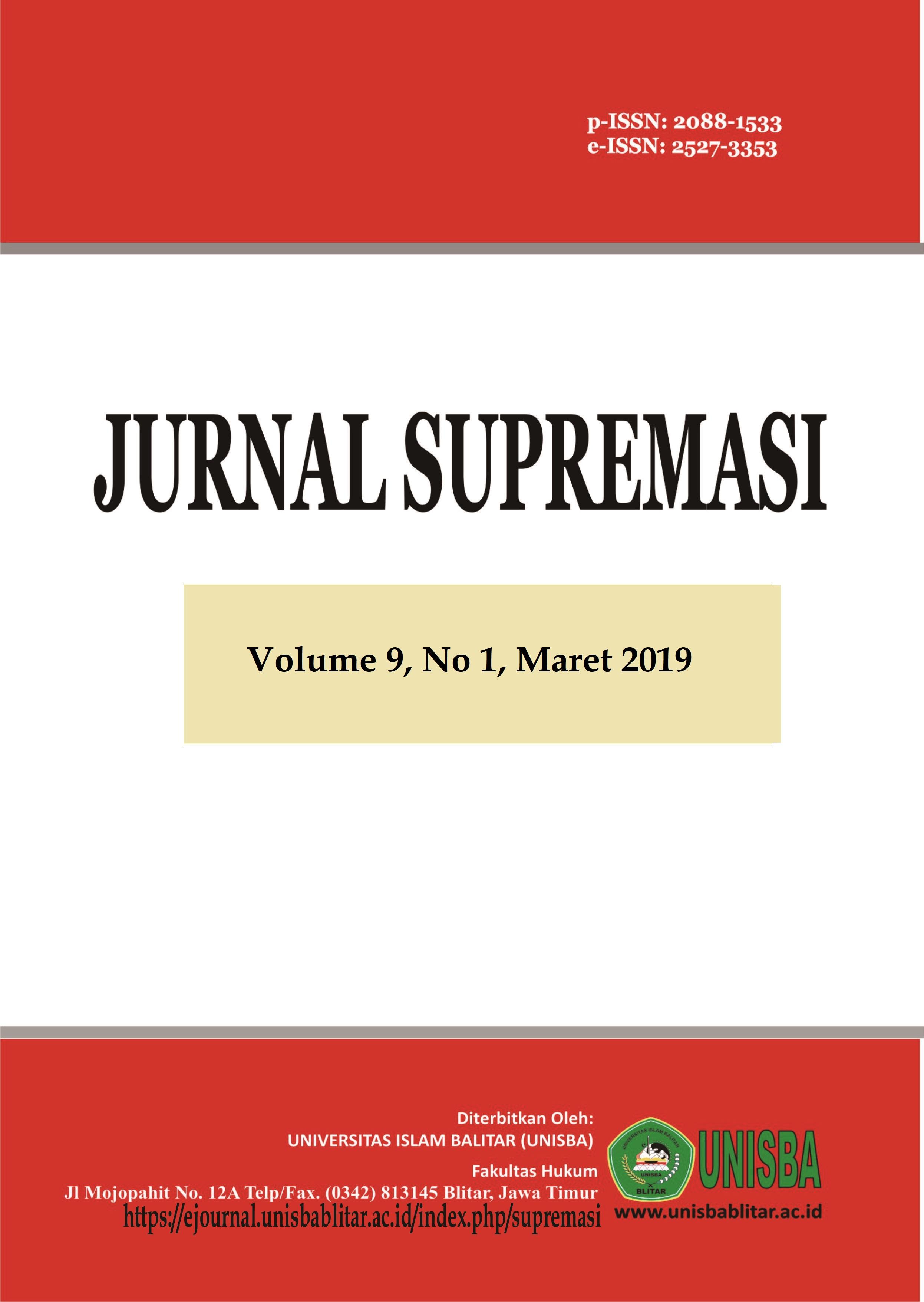 Jurnal Supremasi: Volume 9 Nomor 1 Tahun 2019